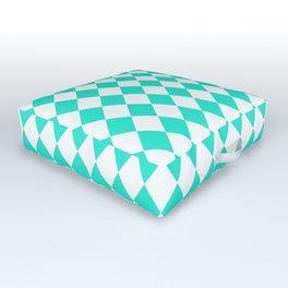 Aqua Gift Box Modern Diamond Pattern Outdoor Floor Cushion