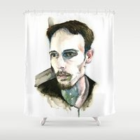 depression Shower Curtains featuring Portrait of Depression by ArtbyLumi