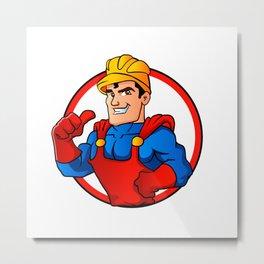 Superhero handyman in circle Metal Print