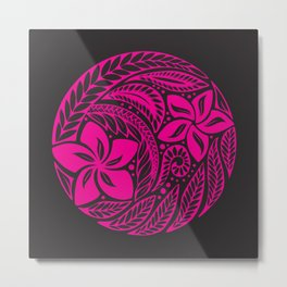 Polynesian Pink and Black Floral Tattoo Metal Print