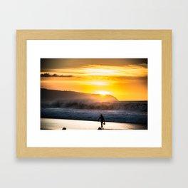 Sunset walk in Hawaii Framed Art Print