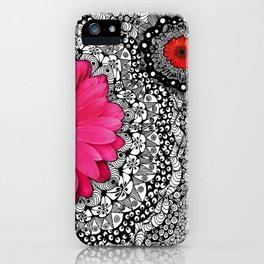 Pink Flower Black White Doodle Art Collage iPhone Case
