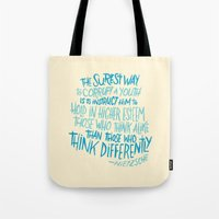nietzsche Tote Bags featuring Corrupt A Youth by Josh LaFayette