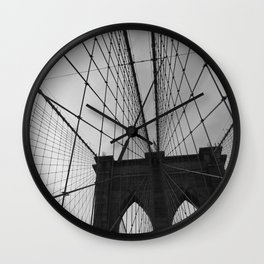 Brooklyn Bridge Black and White Wall Clock