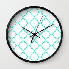Moroccan White and Aqua Wall Clock