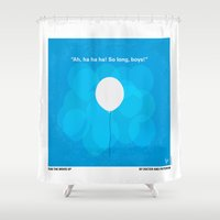 pixar Shower Curtains featuring No134 My UP minimal movie poster by Chungkong