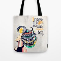 seinfeld Tote Bags featuring Quote - Jerry Seinfeld by Katie Melrose