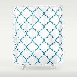 Quatrefoil - Cerulean on White Shower Curtain