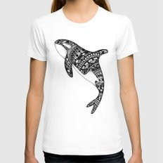 Killer Whale White SMALL Womens Fitted Tee
