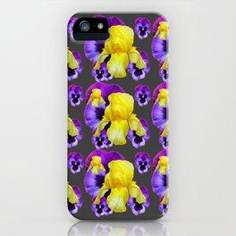 CHARCOAL GREY YELLOW IRIS PURPLE PANSY ART iPhone Case