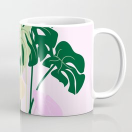 monstera plant on pink background Coffee Mug