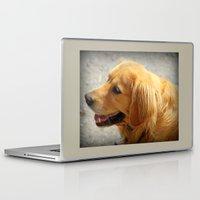 golden retriever Laptop & iPad Skins featuring Happy Golden Retriever  by MyLove4Art