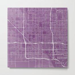 Phoenix Map, USA - Purple Metal Print