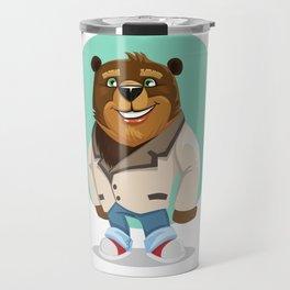 Cool California Hippie Brown Bear Artwork Travel Mug