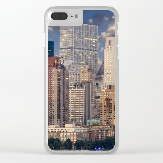 Downtown NYC at twilight Clear iPhone Case