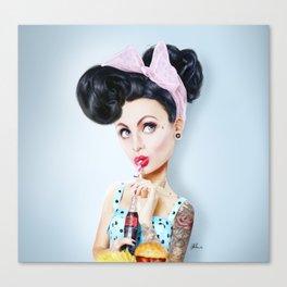 Pinup cool woman Canvas Print