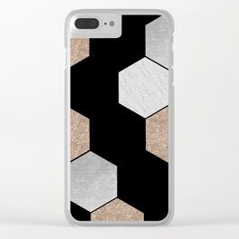 Geometric marble and rose gold on black Clear iPhone Case