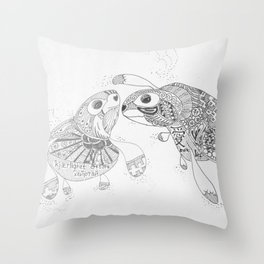 Swimming in Love - Monochrome Throw Pillow