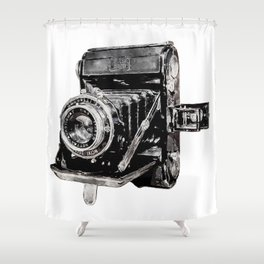 Vintage Watercolor Camera - Zeiss Ikon Folding Camera  Shower Curtain