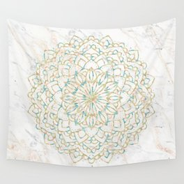 Marble Mandala Sea Shimmer Gold + Turquoise Wall Tapestry