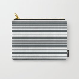 PPG Night Watch Pewter Green & White Thick and Thin Horizontal Lines Bold Stripe Pattern Carry-All Pouch
