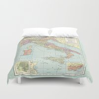 italy Duvet Covers featuring Vintage Italy by Catherine Holcombe