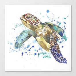 Sea Turtle Pura Vida Watercolor Canvas Print
