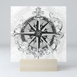Black and White Scrolling Compass Rose Mini Art Print