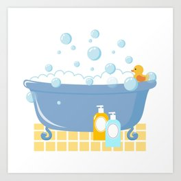 Bubble Bath Tub Art Print