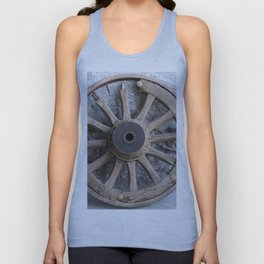 old wooden wheel in the farm Unisex Tank Top