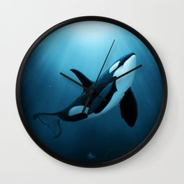 """The Dreamer"" by Amber Marine ~ Orca / Killer Whale Art, (Copyright 2015) Wall Clock"
