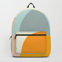 Summer Evening Geometric Shapes in Soft Blue and Orange Backpack