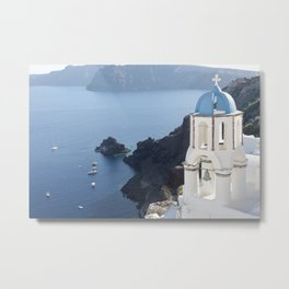 A View of Santorini and the Sea Metal Print