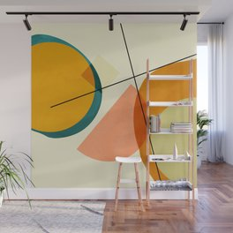mid century geometric shapes painted abstract III Wall Mural