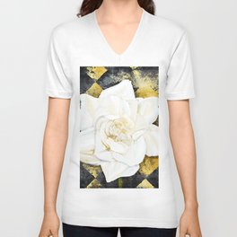 Aged Art Deco Gardenia Floral Art Unisex V-Neck