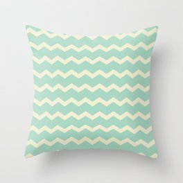Chevron in Seamist and Sand Throw Pillow