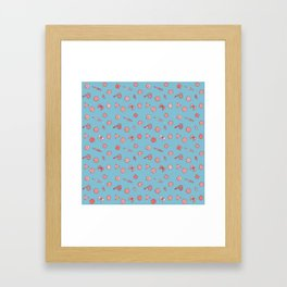Dice and Daggers: Pink and blue Framed Art Print