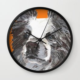Border Collie printed from an original painting by Jiri Bures Wall Clock