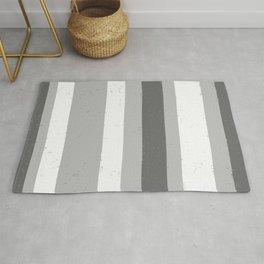 Asymmetrical Multi Value Grey Flecked Jagged Stripes Rug