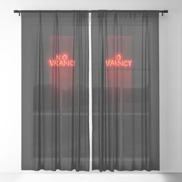 No Vacancy sign in red Sheer Curtain