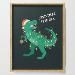 Tyrannosaurus Christmas Tree Rex Card Serving Tray