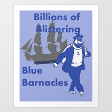 Blue Barnacles Art Print