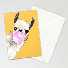 Bubble Gum Sneaky Llama in Yellow Stationery Cards