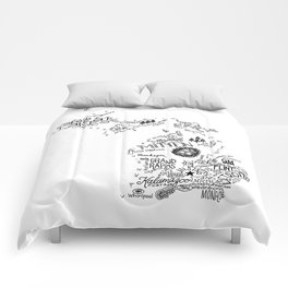 Michigan - Hand Lettered Map Comforters