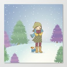 Girl and Dog in Snow Canvas Print