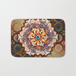 Flower In An Exotic Pattern Over Gold Rings Bath Mat
