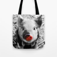 piglet Tote Bags featuring BW splash sweet piglet by MehrFarbeimLeben