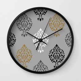 Orna Damask Ptn BW Grays Gold Wall Clock