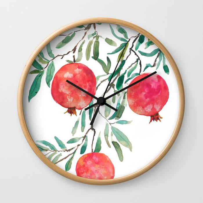 red pomegranate watercolor Wall Clock