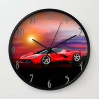 ferrari Wall Clocks featuring Red Ferrari by JT Digital Art
